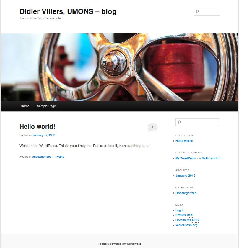 WordPress fresh install page
