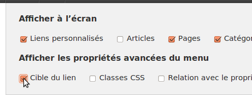 Option WordPress pour afficher l'option cible du lien